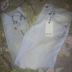 Zara Embroidered Mom Fit Jeans Size 8